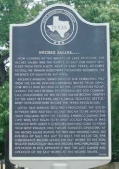 "Historical Marker about Neches Saline in Dogwood City ... ""Now covered by the waters of Lake Palestine"" ... click image to enlarge"